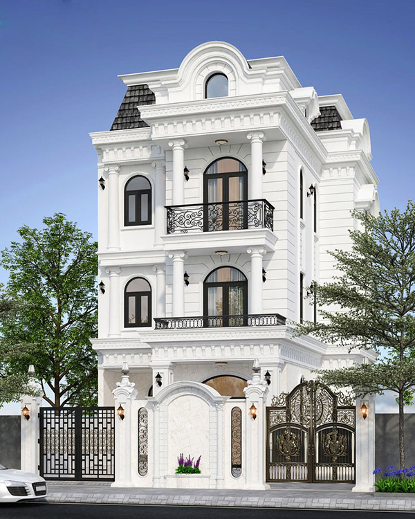 Tông màu trắng - đen là chủ đạo của mẫu biệt thự hiện đại 3 tầng