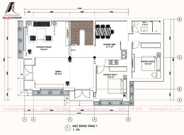 Mặt bằng biệt thự 3 tầng đẹp được bố trí chi tiết, tỉ mỉ