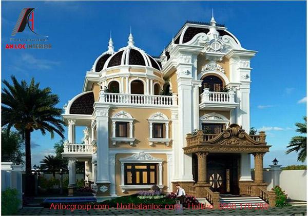 Mái vòm đặc trưng tạo nên mẫu biệt thự đẹp 3 tầng