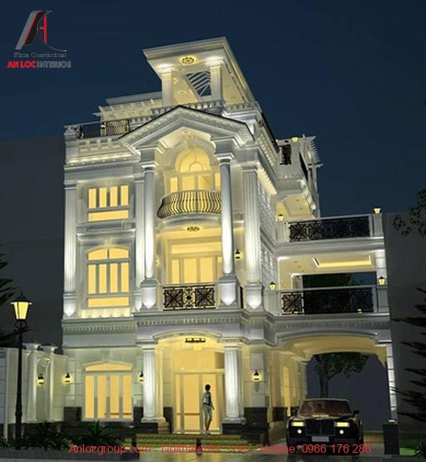 Thiết kế mẫu biệt thự 3 tầng đẹp với hệ thống ánh sáng phân bố đồng đều, hợp lý