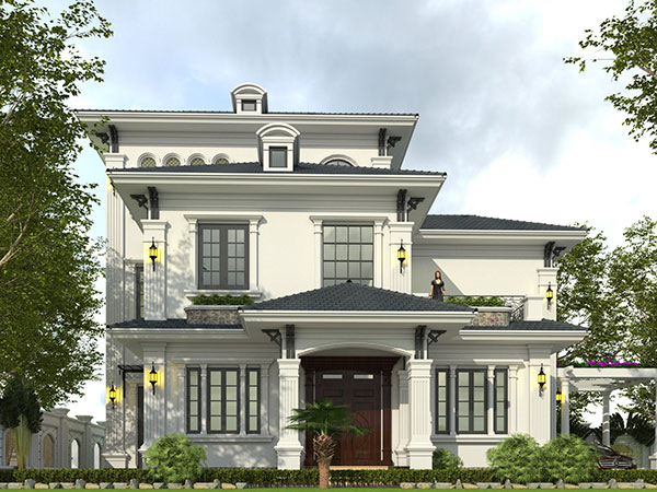 Mẫu thiết kế biệt thự 2 tầng tân cổ điển với các họa tiết sang trọng, mái vòm đặc trưng