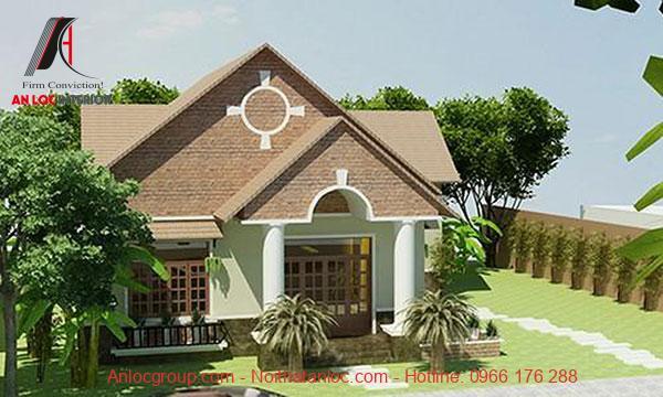 Biệt thự vườn 1 tầng mái thái phù hợp với sơn tường