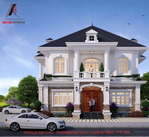 Mẫu thiết kế biệt thự mini 2 tầng mái thái hiện đại với mặt tiền rộng rãi