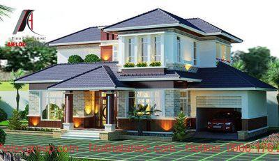 Thiết kế biệt thự mini mái thái ghi điểm với màu sắc mái ấn tượng, nổi bật giữa các gam màu