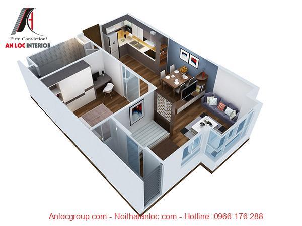 Mặt bằng căn hộ 1 phòng ngủ được bố trí đồng nhất làm nổi bật phong cách thiết kế