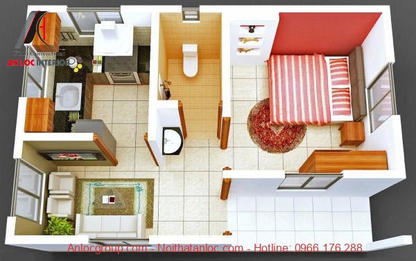 Màu sắc tạo điểm nhấn cho căn hộ chung cư 1 phòng ngủ