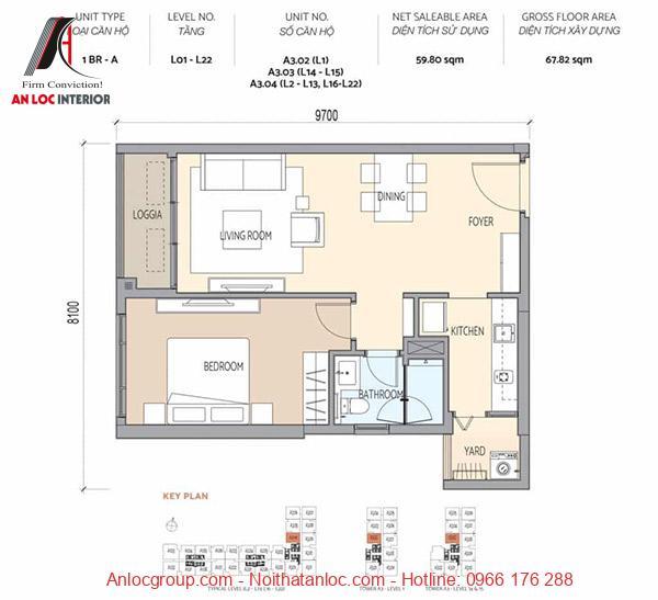 Bản vẽ mặt bằng căn hộ chung cư 1 phòng ngủ ấn tượng, tích hợp đầy đủ công năng