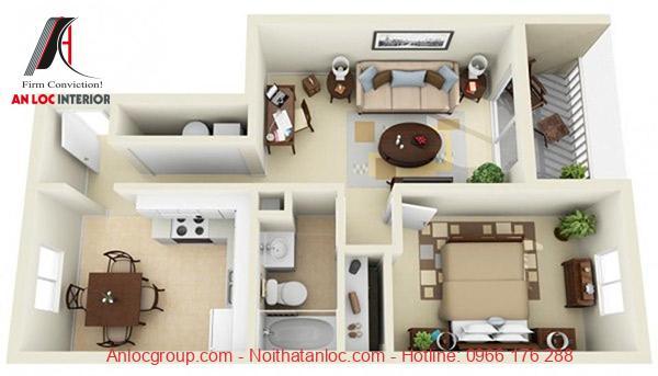 Gam màu trung tính làm điểm nhấn nổi bật cho mẫu căn hộ 1 phòng ngủ đẹp hơn, cuốn hút hơn. Bên cạnh đó, gam nâu trên các đò nội thất ghi đậm dấu ấn đặc trưng cho toàn không gian