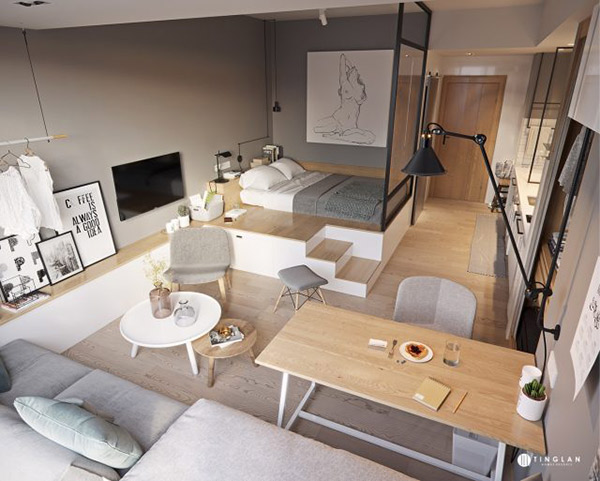 Thiết kế nội thất căn hộ 1 phòng ngủ cần đảm bảo nhiều yếu tố