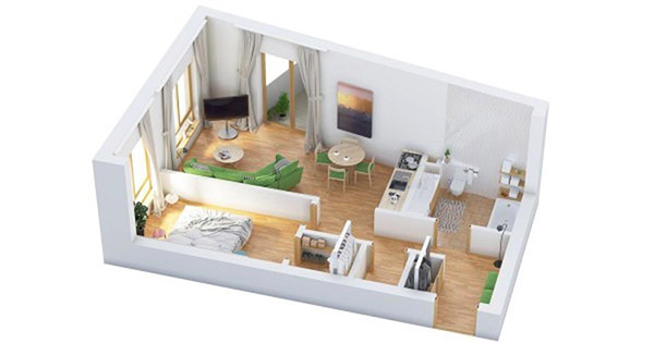 Màu xanh nhẹ nhàng kết hợp uyển chuyển với tường trắng, sàn gỗ tạo nên vẻ đẹp cuốn hút lạ kỳ. Căn hộ 1 phòng ngủ Hà Nội ghi đậm dấu ấn đặc trưng