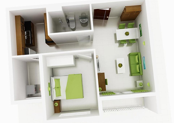 Mẫu 9: Màu xanh nõn chuối hòa trong sắc trắng tạo nên thiết kế căn hộ chung cư 1 phòng ngủ tuyệt vời, hấp dẫn
