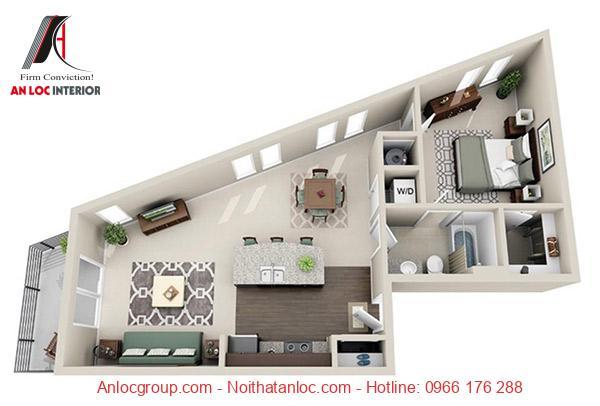 Mẫu 10: Thiết kế nôi thất chung cư 1 phòng ngủ Hà Nội được xây dựng với bố cục hợp lý đi kèm với công năng hiệu quả