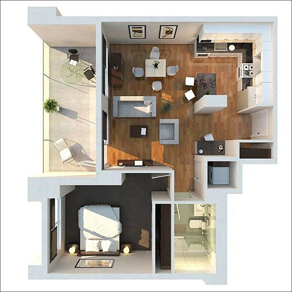 Chung cư 1 phòng ngủ có thể chọn màu sắc hợp mệnh, bố trí các gian phòng cũng là cách đảm bảo phong thủy cho gia chủ