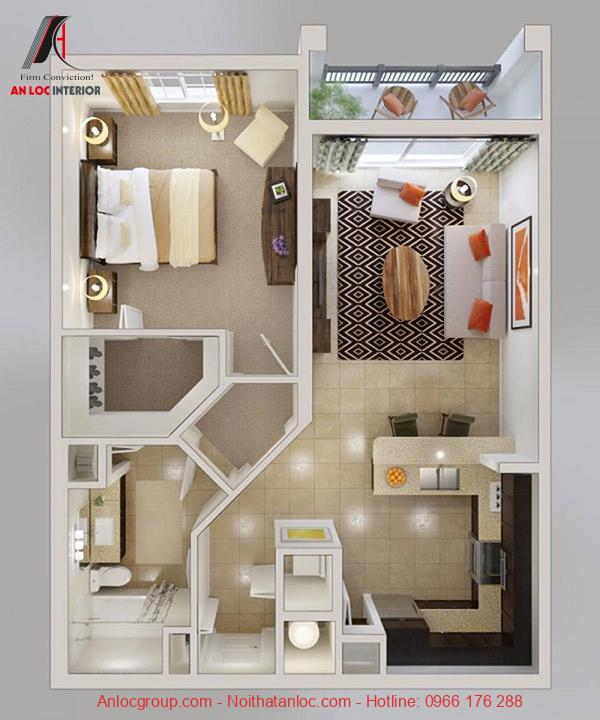 Cần năm bắt diện tích căn hộ 1 phòng ngủ để bố trí nội thất hợp lý, đảm bảo kinh tế