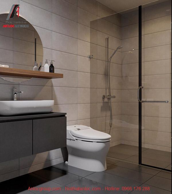 Gam màu sáng là gam màu sử dụng chủ yếu trong thiết kế phòng tắm chung cư 2 phòng ngủ