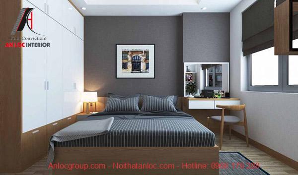 Phòng ngủ chính sẽ hài hòa với phong cách thiết kế của tổng thể căn hộ. Bên cạnh đó bố trí phòng ngủ hợp phong thủy cũng được chú trọng hàng đầu