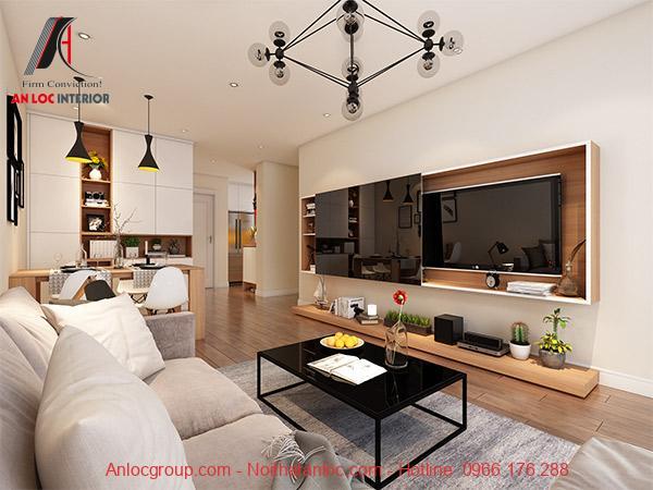 Phòng khách đề cao yếu tố đơn giản nhưng tích hợp nhiều công năng. Đực biệt nê chú trọng đến việc phối hợp màu sắc và yếu tố phòng thủy