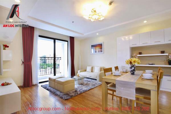 Thiết kế chung cư 2 phòng ngủ với phòng khách tràn ngập ánh sáng tự nhiên. Điều này tạo cảm giác dễ chịu, thoái mái cho giai chủ
