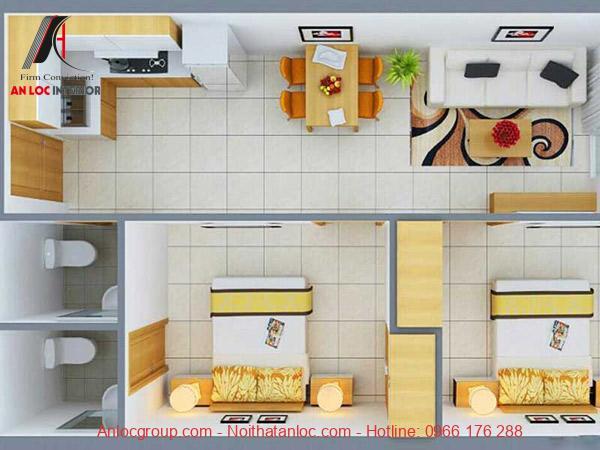 Thiết kế nội thất chung cư 2 phòng ngủ đơn giản, tích hợp nhiều công năng. Tông màu trắng - vàng kết hợp uyển chuyển, tinh tế mang đến xúc cảm riêng biệt