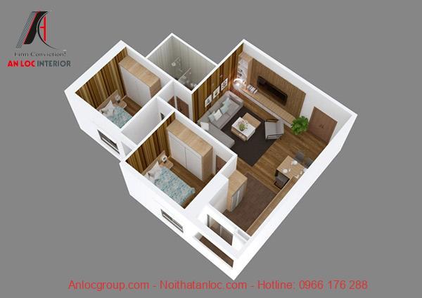 Vật liệu ốp tường và sàn nhà từ gỗ MDF vừa đảm bảo kinh tế vừa đảm bảo tính thẩm mỹ. Cách sắp đặt gian phòng đồng nhất, liên kết chặt chẽ với nhau