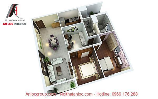 Bố trí nội thất chung cư 2 phòng ngủ đầy đủ ánh sáng