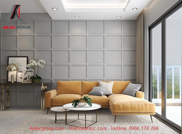 Mẫu 13: Một góc phòng khách của căn hộ 2 phòng ngủ tận dụng tối đa ánh sáng tự nhiên