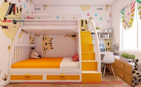 Giường tầng nội thất được sử dụng phổ biến nếu gia đình có 2 em nhỏ. Kết cấu giường tầng giúp gia chủ có thể tận dụng để đựng những vật dụng cần thiết