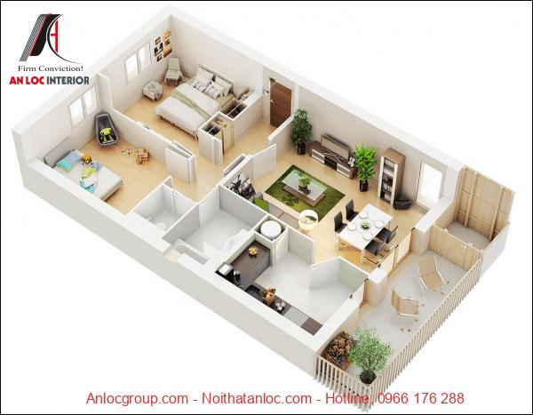 Thiết kế nội thất căn hộ 2 phòng ngủ với không gian xanh. Điểm nhấn căn hộ đó chính là ban công rông lớn thích hợp thưởng trà, ngắm cảnh