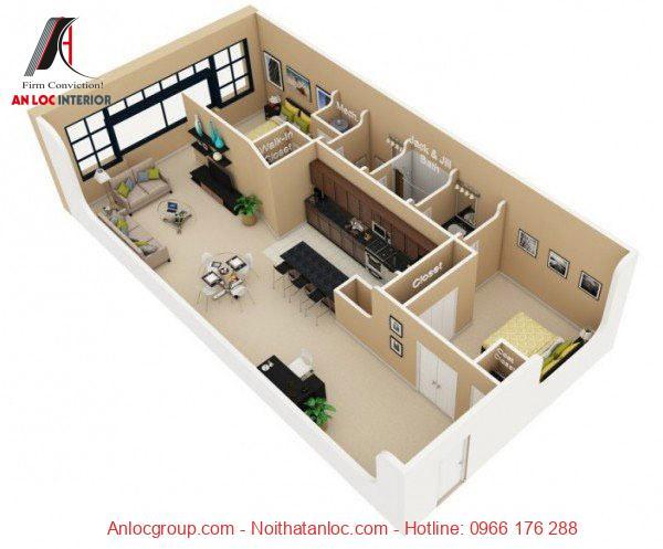 Gam pastel được lựa chọn là màu sơn tường. Gam màu kết hợp với đồ nội thất tạo nên không gian sống hiện đại, sang trọng