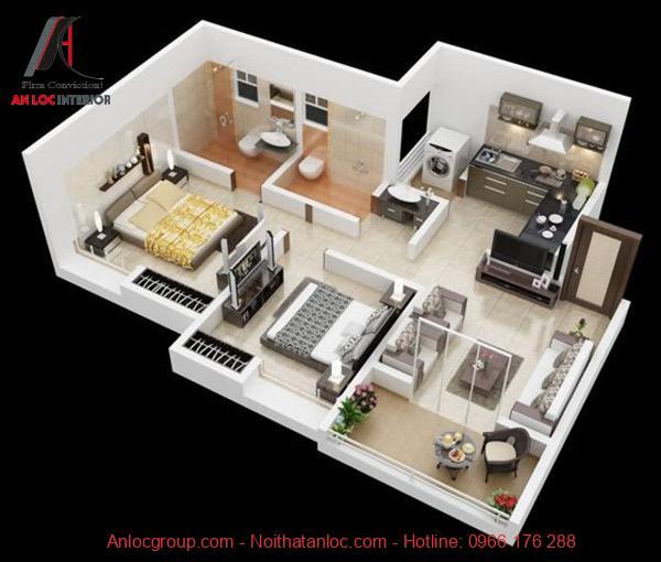 Thiết kế căn hộ 2 phòng ngủ đơn giản nhưng đầy đủ tiện ngi