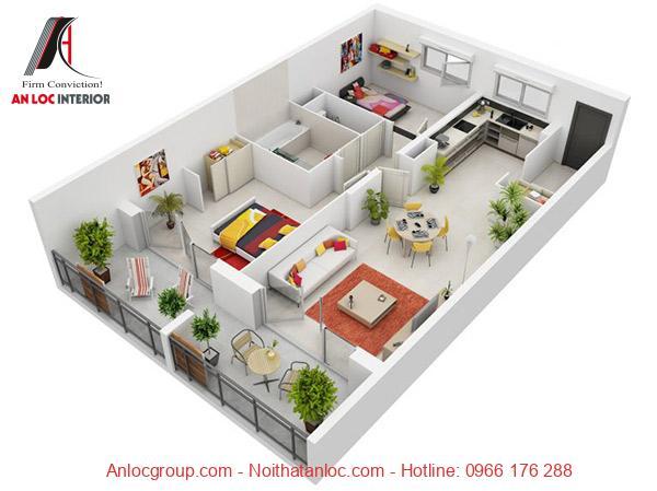 Mẫu 18: Không gian xanh được phân bổ đều không gian các phòng. Cùng với đó nội thất có nhiều điểm nhấn hút mắt gia chủ