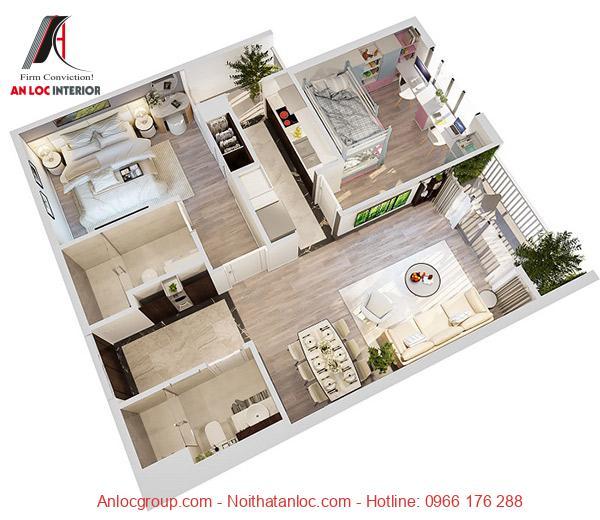 Thiết kế chung cư 1 phòng ngủ với kết cấu đơn giản, hợp lý. Khéo léo lồng ghép không gian xanh hòa trong đồ nội thất tinh tế tạo nên sự thoải mái, dễ chịu