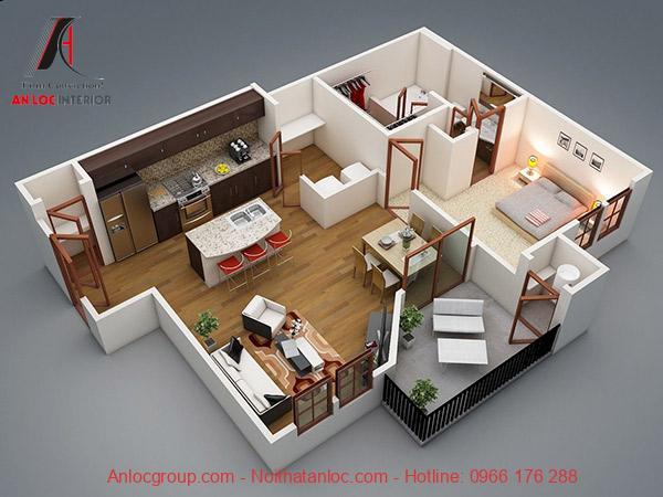 Mẫu 7: Sàn gỗ MDF làm nổi bật thiết kế kế nội thất căn hộ 2 phòng ngủ. Cách lựa chọn chất liệu ốp sàn đã tôn vinh không gian của chung cư