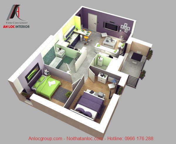 Mẫu 9: Phân chia màu sắc trong tổng thể căn hộ tạo dấu ấn mạnh mẽ. Đặc biệt không gây nhức mắt, bí bách mà mang đến không gian thoải mái, dễ chịu