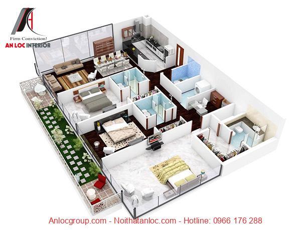 Khoảng ban công của chung cư 3 phòng ngủ được bố trí với cây xanh tự nhiên