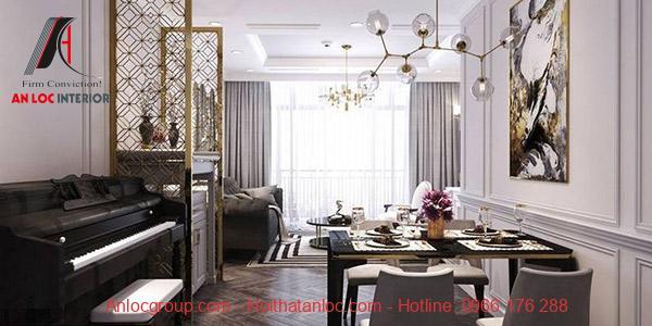 Phòng khách mang đạm dấu ấn đặc trưng phong cách thiết kế nội thất tân cổ điển