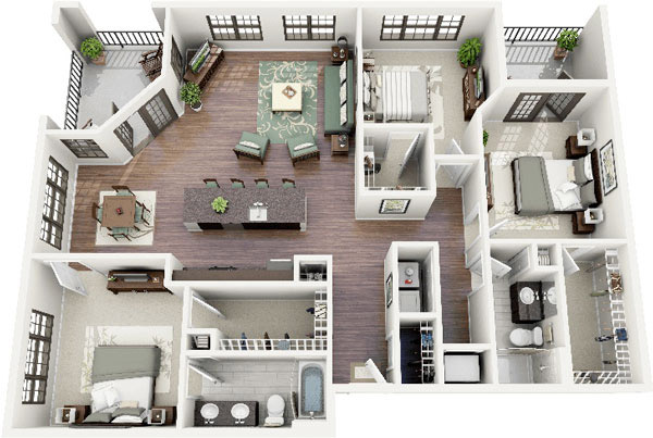 Thiết kế nội thất chung cư 3 phòng ngủ đơn giản, phân chia không gian hợp lý