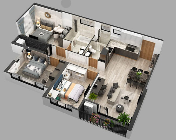 Thiết kế căn hộ 3 phòng ngủ với màu sắc cân bằng tạo sự thoải mái, dễ chịu