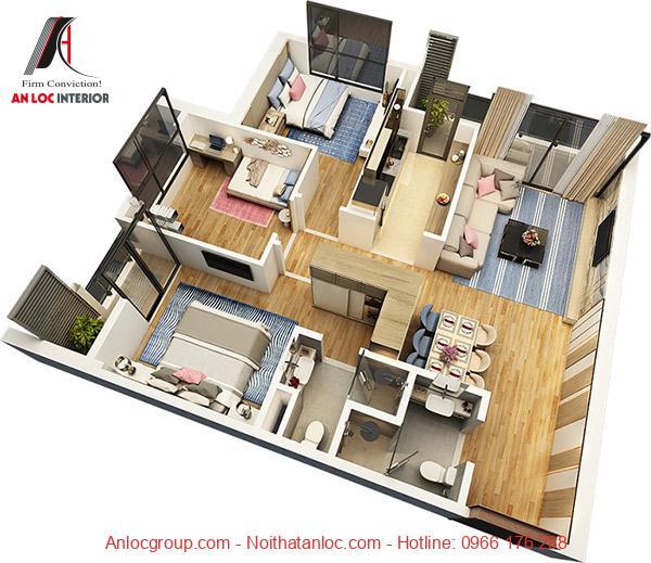 Thiết kế nội thất căn hộ 3 phòng ngủ với điẻm nhấn từ các vật dụng trang trí