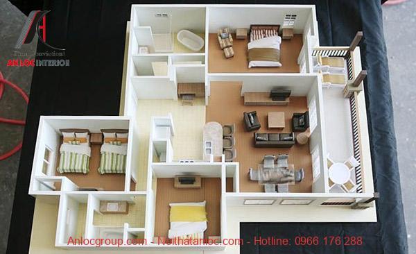 Thiết kế căn hộ 100m2 3 phòng ngủ với ban công rộng lớn