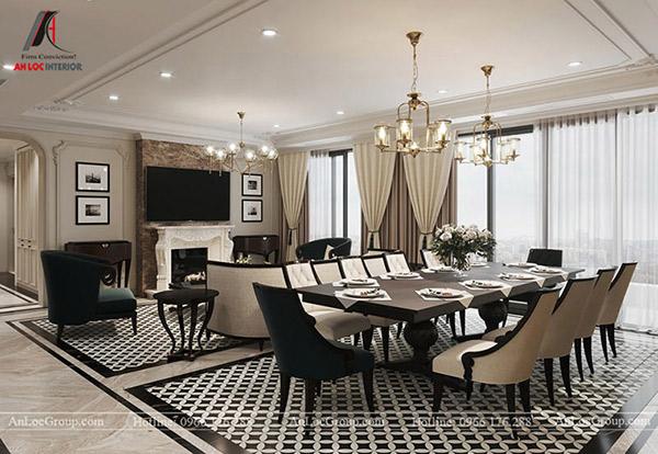 Phòng ăn liền phòng khách cũng là xu hướng trong thiết kế căn hộ 3 phòng ngủ hiện nay