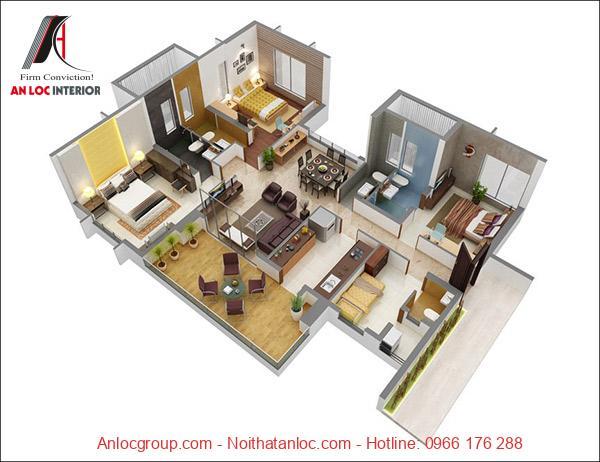 Lựa chọn gam màu nóng để thiết kế nội thất chung cư 3 phòng ngủ. Sự phối hợp hoàn hảo, tỉ mỉ đến từng chi tiết
