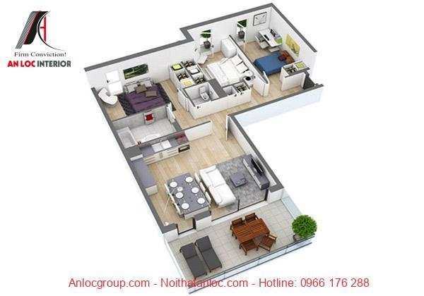 Thiết kế căn hộ 90m2 3 phòng ngủ với cách bố trí hiện đại
