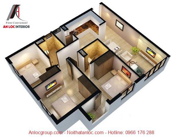 Thiết kế chung cư 3 phòng ngủ đơn giản nhưng đảm bảo đầy đủ công năng