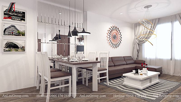 Gam màu trung tính nổi bật không gian phòng khách