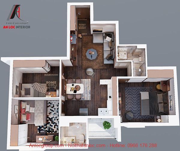 Căn hộ 3 phòng ngủ được thiết kế nội thất từ gỗ MDF. CHất liệu này mang đến không gian sang trọng, nổi bật từ sàn đến tường