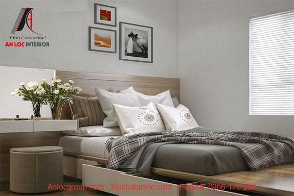 Phòng ngủ của thiết kế chung cư 60m2 đơn giản, tiện lợi