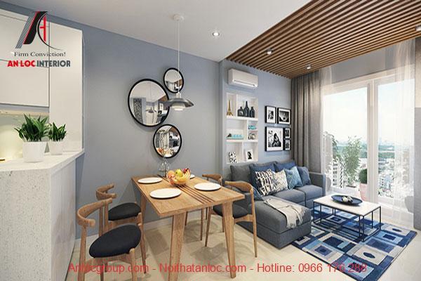 Sử dụng gỗ tone màu trầm cho căn hộ 60m2