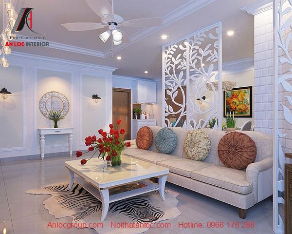 Không gian được bao phủ bằng màu trắng sáng trọng kết hợp với các họa tiết trang trí đơn giản, tinh tế
