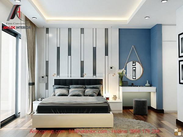 Màu thảm được xây dựng phù hợp với nội thất tổng thể phòng ngủ. Thiết kế chung cư 100m2 thường xây dựng phòng ngủ đơn giản nhưng tích hợp đầy đủ công năng